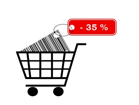 shopping cart with bar code and label isolated on white background photo