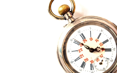 pocketwatch: view of an old silver pocket watch Stock Photo
