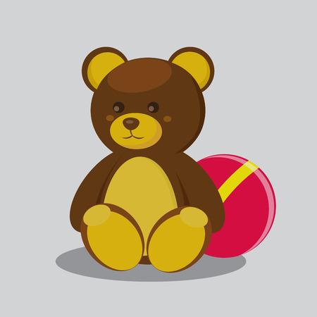 cute bear: Cute Teddy bear with ball