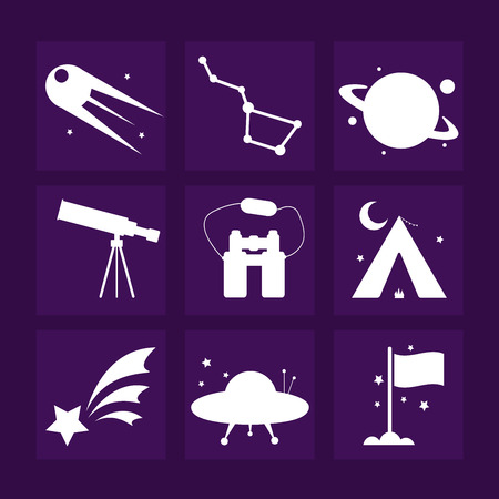 astronomy: Nine white astronomy icons