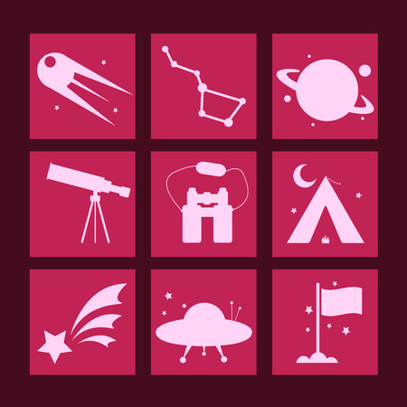 sputnik: Nine white astronomy icons