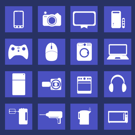 appliances icons: Home appliances icons in flat style Illustration