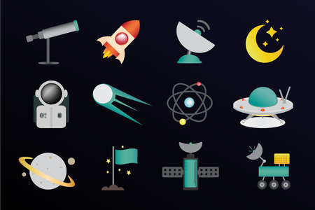 Twelve space icons in different colors Illustration