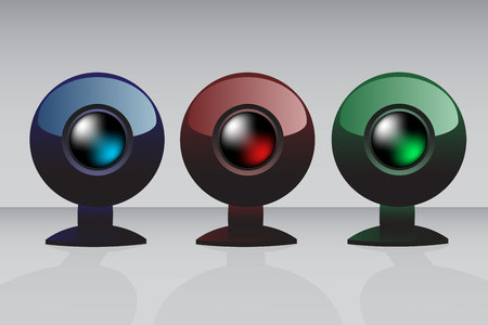 video call: Three icons of the web camera in different colors Illustration