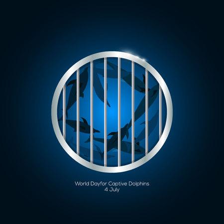 4 juli Werelddagvoor Dolfijnen in gevangenschap Stock Illustratie