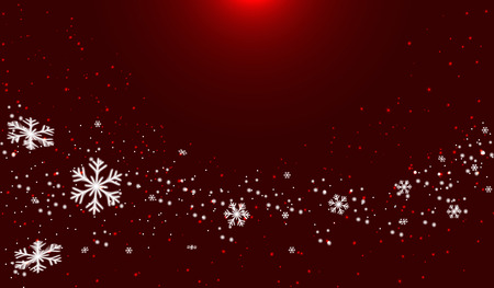 Snow on red color background.