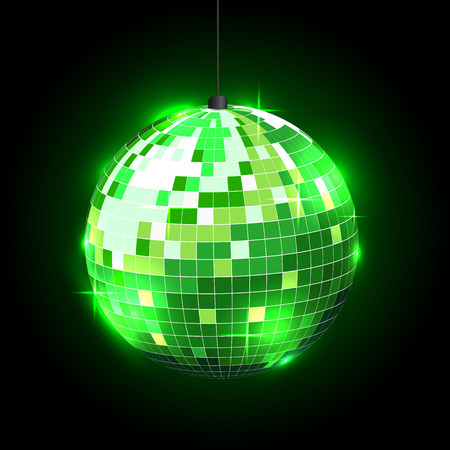 Disco ball on black background. Can be used in invitations, present card and flyers.