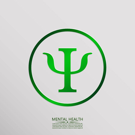 Letter Psi. Symbol of psychology. Vector icon and place for your text