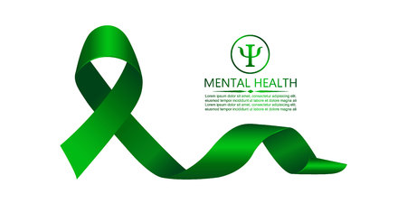Green ribbon as symbol of mental health awareness. Vector illustration Çizim