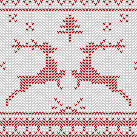 Knitted pattern with deers. Vector Illustration