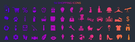 Set of supermarket icons, shopping and online shopping icons. Vector Illustration