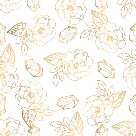 Hand drawn seamless pattern with golden jewerly and floral elements. Can be used as texture for fabric,as background for gift cards, in web design, as pattern for wallpaper and etc Ilustrace