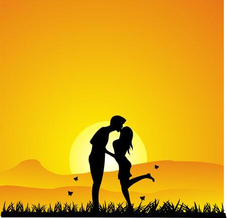 siluetas de enamorados: Besar la silueta