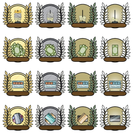 best employee: Gamification medals for best employee Stock Photo