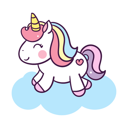 Unicorn cute cartoon illustration: series Illustration of very cute fairytale pony - card and Print for t-shirt. Romantic hand drawing illustration for children. Ilustração
