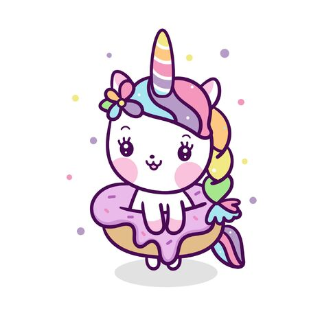 Kawaii Unicorn vector with cute donut cartoon (Illustrator ) Ilustração