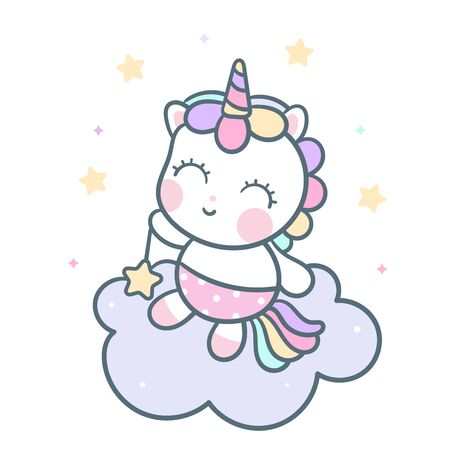 Cute Unicorn vector pony cartoon, Cute animal character pastel color. Series: magic sleeping time sweet dream Good night, fairy doodle. Perfect for invitations, children books, fashion, banners, greeting cards.