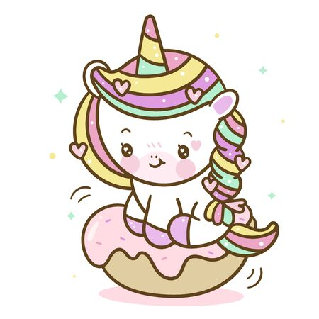 Cute Unicorn donut vector