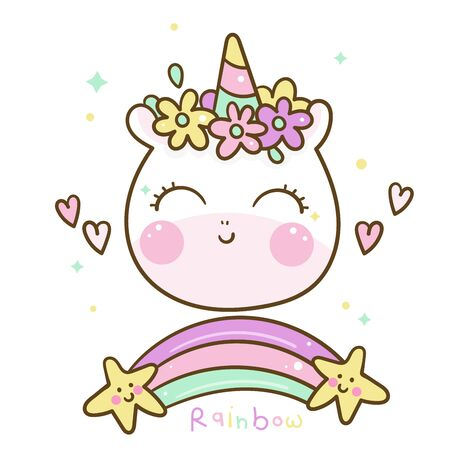 Cute Unicorn rainbow cartoon