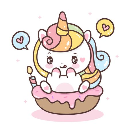 Cute Unicorn vector on donut cupcake Illustration