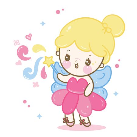 Cute angel cartoon, fairy princess vector