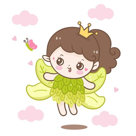 Cute angel cartoon and butterfly
