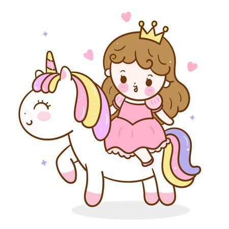 Cute uniorn vector and princess cartoon