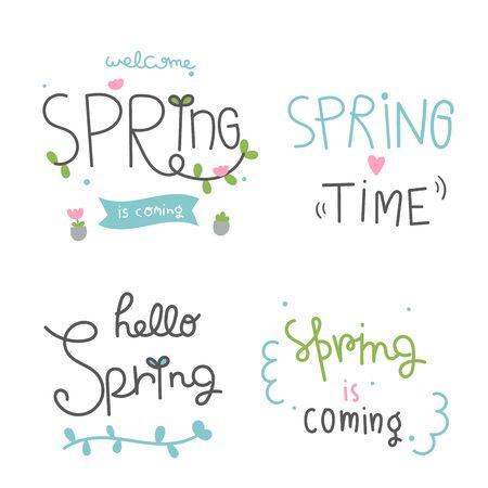 Set Frühlings-Schriftzug Cartoon-Saison-Grußkarten (Vektor-Illustration): Spezielle handgezeichnete Zitate Vektorgrafik
