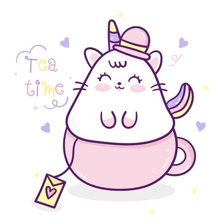 Cute Unicorn cat cartoon in cup tea time Ilustração