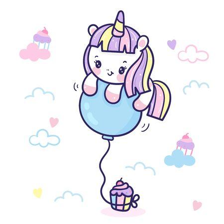 Cute Unicorn cartoon with balloon and cupcake