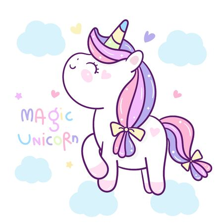 Cute Unicorn cartoon on cloud