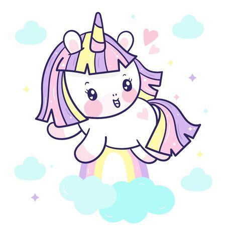 Cute Unicorn vector rainbow cartoon jump on sky