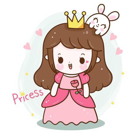 Cute princess cartoon with rose, girl vector doodles