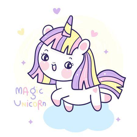 Cute Unicorn cartoon pony child vector