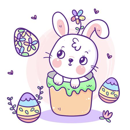 ute Easter bunny cartoon, rabbit eggs vector