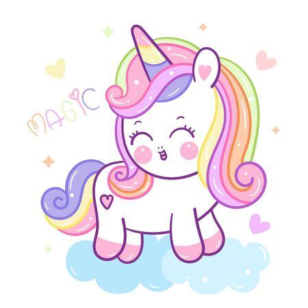 Beautiful unicorn vector on cloud cartoon Ilustração
