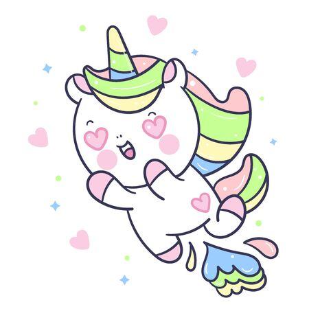 Cute Unicorn vector in love jump on air Ilustração