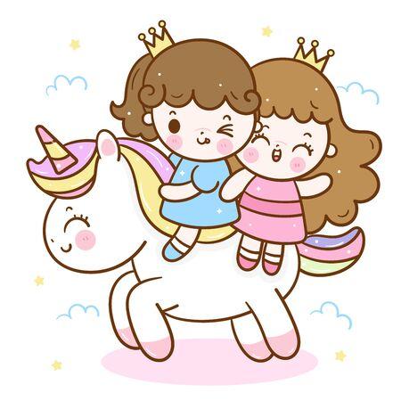 Cute girls princess ride unicorn cartoon Ilustração