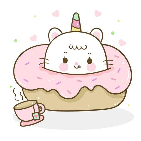 Cute Unicorn cat vector cupcake donut and tea time sweet dessert pastel color, pony child cartoon Ilustração