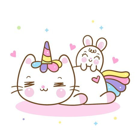 Cute Unicorn cat cartoon and bunny rabbit sleep sweet dream