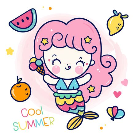 Cute Princess mermaid vector girl cartoon Ilustração