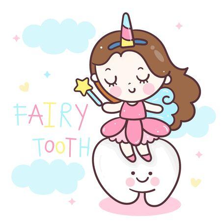 Cute fairy tooth vector angle cartoon wear unicorn horn