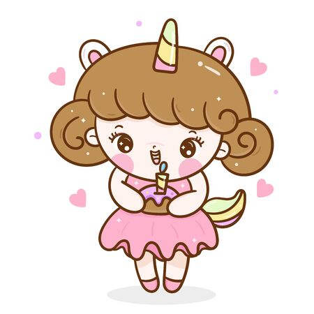 Cute Kid vector wear Unicorn cartoon fancy pony child Cupcake Birthday Stockfoto - 143791026
