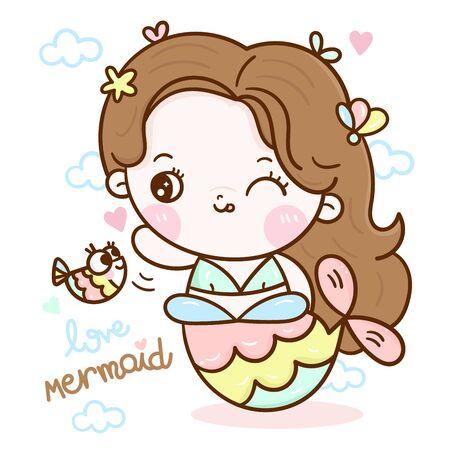 Cute mermaid vector girl cartoon Kawaii character fairytale pastel color Stockfoto - 143889205
