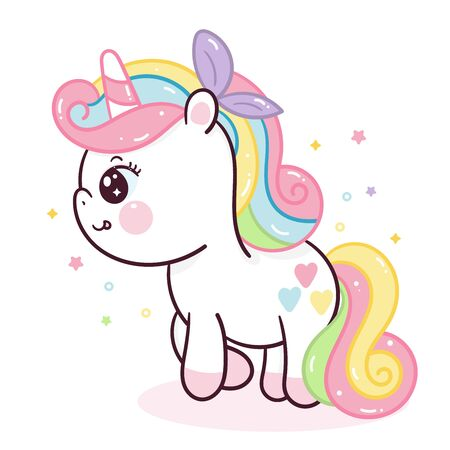 Cute Unicorn vector doodle pony child cartoon Girly Kawaii character