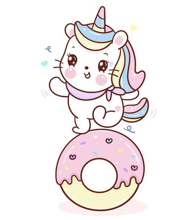 Cute Unicorn cat vector dance on cupcake donut cartoon sweet dessert pastel color Stockfoto - 144396473