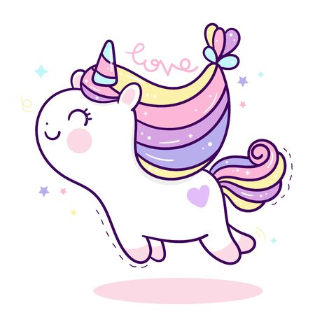 Cute Unicorn vector pony child cartoon Stockfoto - 144941305