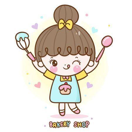 girl vector cute bakery shop food logo cartoon for kid dessert birthday cake