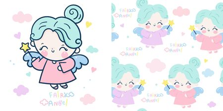Set Cute angel cartoon and fairy princess seamless vector star magic wand Stockfoto - 145581722