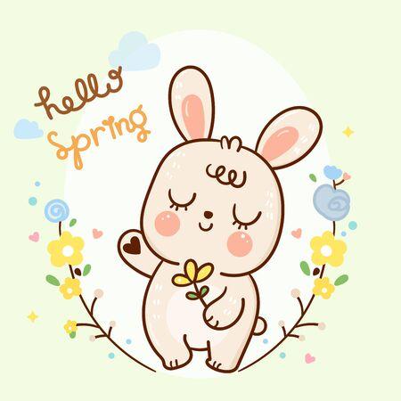 Cute rabbit cartoon, bunny vector in flower garden blossom Spring season